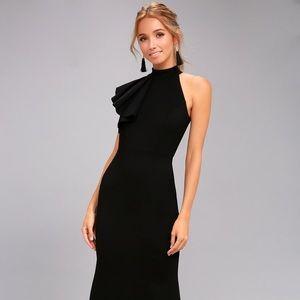NWT Lulu's Margaux Black One-Shoulder Maxi Dress
